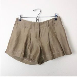Anthropologie Carrtonnier Pleated Tan Linen Shorts